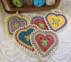 """For the hearts pictured, I used small amounts of sport weight cotton. The hearts measure (unblocked) about 5-1/2"""" at the widest point and 6"""" in length."""