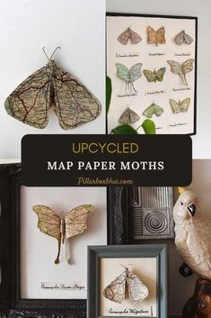 How to make faux map paper moth art work. Three different designs to choose from, these would make a lovely gift if you use a special map. Map Crafts, Glue Crafts, Map Artwork, Heart Map, Paper Vase, Paper Trail, Heart Ornament, Paper Beads, Vintage Maps