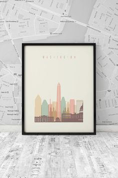 Washington DC skyline Printable Poster Wall Art por ArtFilesVicky