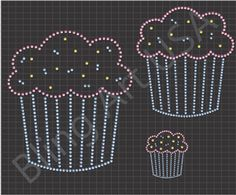 Cupcake Rhinestone Downloads File Template Patterns Sweets Bling Dessert SVG PLT EPS PDF Bakery Stone Cupcakes System Easy Celebration Sticky Flock