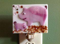 Pig Fused Glass Night Light Farm Animal Piglet Nursery