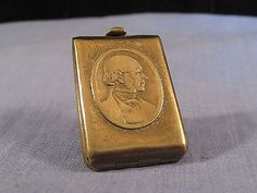 ROWLAND HILL PENNY STAMP CASE BRASS W AVERY BOX NEEDLE REGISTERED 1874 VICTORIAN