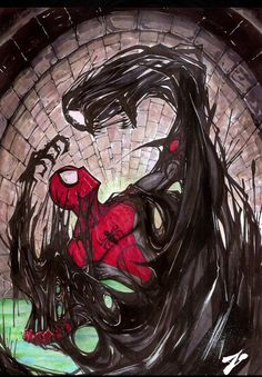 This great illustration featuring Spider-Man fighting the Venom Symbiote was created by Zuleta Miguel.