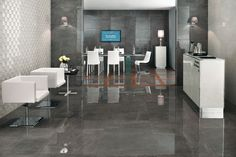 Marvel Grey Stone lappato - porcelain tile floors with the look of polished marble