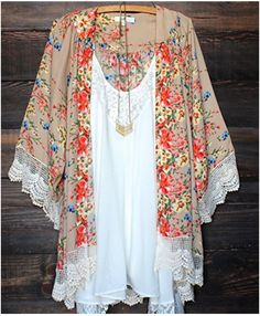 I love these sheer cardigans. Relipop Women's Sheer Chiffon Blouse Loose Tops Kimono Floral Print Cardigan