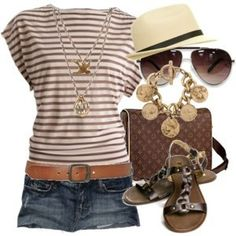 Attractive And Stylish Summer Outfit - striped top, denim shorts, panama, sandals
