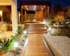 Asian Design, Pictures, Remodel, Decor and Ideas.  I like the wooden walkway with low stones.