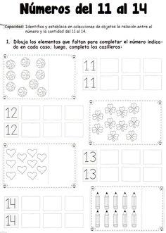 Actividad: Dibuja los elementos que faltan para completar el número indicado en cada caso; luego, completa los casilleros. Números del 11 al 14: Identifica y establece en colecciones de objetos la relación entre el número y la cantidad del 11 al 14.