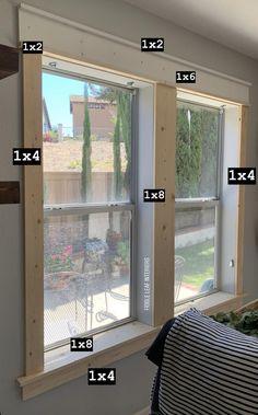 Farmhouse Trim, Farmhouse Windows, Home Renovation, Home Remodeling, Interior Window Trim, Diy Exterior Window Trim, Diy Interior, Craftsman Windows, Moldings And Trim