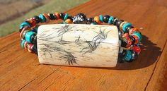Asian Flower and Butterfly Design Bone by MountainMagicJewelry