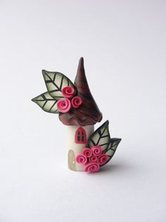 Fairy house home miniature in red pink and black by fizzyclaret