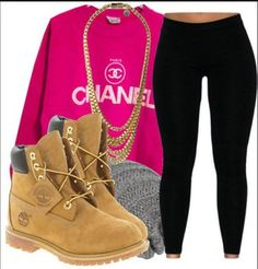 sweater chanel timberlands leggings hot pink black gold chain beanie swag