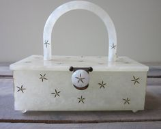 Lucite Handbag Purse Box - White Marblelized Lucite with Diamond Stars - Original Rialto