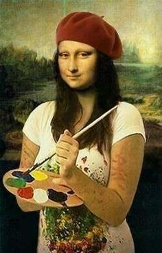 Mona Lisa Painter loved by Art Ed Central Mona Lisa Parody, Mona Lisa Smile, Tachisme, Frida Art, American Gothic, Photocollage, Famous Art, Paul Gauguin, Arts Ed