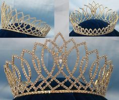 BEAUTY PAGEANT RHINESTONE MISS BEAUTY QUEEN FULL GOLD RHINESTONE CROWN Magnificent FULL Round crown, made with the finest rhinestones and silver plated metal. The highest point is 4.5 Inches tall and