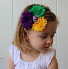 Shabby Chic Mardi Gras Headband in Purple by LaBandeauxBowtique