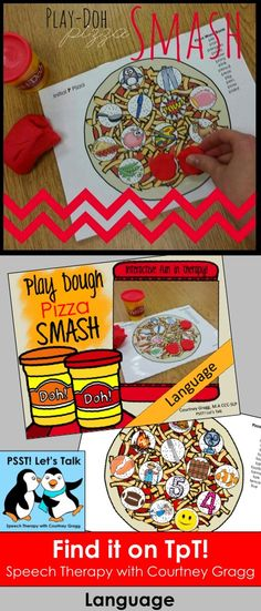 Interactive pizza Play Doh mats for language therapy!
