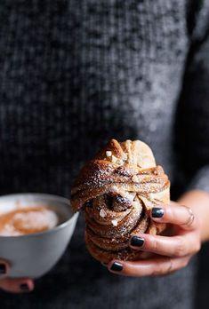 Sweet Cinnamon Buns With Pearl Sugar Emma Knowles Gourmettraveller Patisserie Vegan, Baking Recipes, Dessert Recipes, Cookie Recipes, Chef Recipes, Cinnamon Bun Recipe, Cinnamon Crunch, Cinnamon Rolls, Sweet Buns