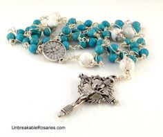 Holy Spirit Rosary Beads In Turquoise and White Magnesite Come Visit UnbreakableRosaries.com