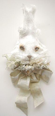Rabbit Papier mache  Brooch by Merveillesenpapier on Etsy