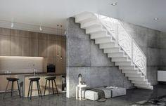Scari interioare moderne - Traforate.ro Steel Balustrade, Powder Coating, Stairs, Interior, Kitchen, Design, Home Decor, Ladders, Indoor