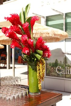 tropical corporate flowers reception wedding flowers, wedding decor, wedding flower centerpiece, wedding flower arrangement, add pic source on comment and we will update it. can create this beautiful wedding flower Arrangement Tropical Centerpieces, Tropical Flower Arrangements, Wedding Flower Arrangements, Wedding Flowers, Centerpiece Wedding, Decor Wedding, Ikebana, Exotic Flowers, Tropical Flowers