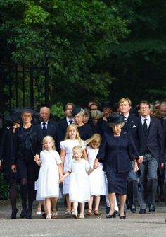 Dutch Princess Mabel (L-R), King Harald of Norway, Princess Laurentien (back C), Princess Beatrix (3rd R), King Willem-Alexander (2nd R) and Prince Constantijn together with Countess Luana (L-R), Crown Princess Amalia, Countess Zaria, Princess Alexia on their way to the Stulpkerk in Lage Vuursche for the funeral of Prince Friso, in Lage Vuursche, The Netherlands, 16 Aug 2013