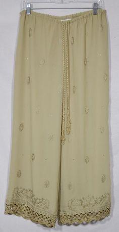 SOFT SURROUNDINGS Sage Green Pants PS Petite Elastic Drawstring Waist Embellish #SoftSurroundings #CasualPants