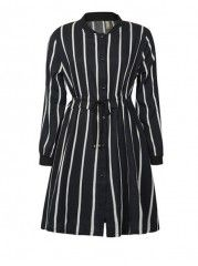 Striped Charming Band Collar Plus Size Shift Dress