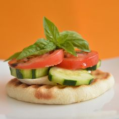 rhodes roll flat bread..cucumbers, balsamic, tomato, mozz cheese.