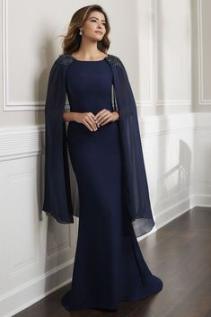 Christina Wu Elegance 17915 Sleeveless long dress and detachable Chiffon cape. Dress shoulders and cape decorated with beaded motifs. Mother Of The Bride Gown, Mother Of Groom Dresses, Mothers Dresses, Cape Gown, Long Cape Dress, Bride Gowns, Prom Dresses, Wedding Dresses, The Dress