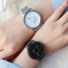 BGG Brand New Creative Fashion Watch Women Stainless Steel Mesh Band Casual Quartz Watch Lovers Classic White Black Watch