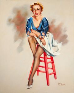 (TED) KUCK (American, d. Seated Pin-Up, Brown & Bigelow calendar illustration Oil on canvas board - Available at 2014 May 7 Illustration Art. Earl Moran, Calendar Girls, Photo Pin, American Indian Art, Pin Up Art, Retro Art, Girl Cartoon, Erotic Art, Pin Up Girls