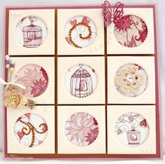 Nesting Squares and Circles Dies Watch the Birdie Dips Designs Shabby Chic Cards, Step Cards, Window Cards, Collage Frames, Card Making Tutorials, Hat Pins, Paper Crafts, Card Crafts, Cardmaking