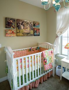 Canvas gallery wraps. Wall portrait grouping for nursery. Newborn #photography #portrait #picture over the crib. Nursery art and decoration.