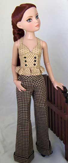 West End pattern for Ellowyne - cute top, halter with long bodice and ruffled cummerbund or peplum