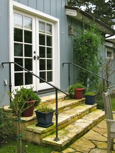 Love These Flagstone Stairs With Simple Iron Railings. I Need Iron Rails  Like This For My Side Porch