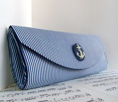 Nautical navy blue clutch purse!