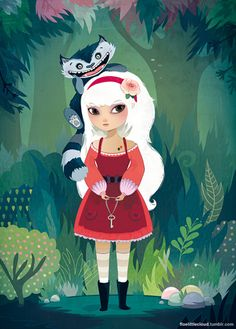 floelittlecloud:  Alice and the Cheshire Cat  Réalisé pour une exposition collective sur le thème d'Alice aux Pays des Merveilles.For an exh...