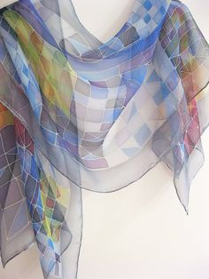 Silk chiffon scarf Hand painted Geometric navy blue.