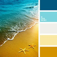 Color inspiration for design, wedding or outfit. More color pallets on… Colour Pallette, Colour Schemes, Color Combos, Ocean Color Palette, Ocean Colors, Palette Design, Beach Color, Color Balance, Design Seeds