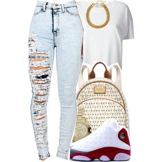A fashion look from December 2014 featuring white shirt, distressed jeans and Michael Kors. Browse and shop related looks.