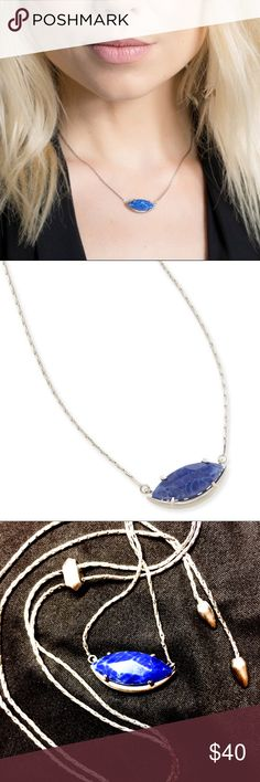 """NEW Kendra Scott adjustable length necklace Kendra Scott NEW """"Meghan"""" Blue semi precious stone with silver tone sleek chain and an adjustable pull cord, so it can be a pendant or necklace or even a choker or bracelet. Kendra Scott Jewelry Necklaces"""