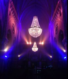 Chandeliers for a gala in a church www.chandelierrental.com
