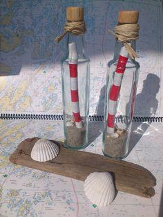 Deko-Objekte - ~ Leuchtturm in der Flasche ~ - ein Designerstück von nordic-Art bei DaWanda