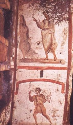 Paralytic carrying his bed from a catacomb painting.