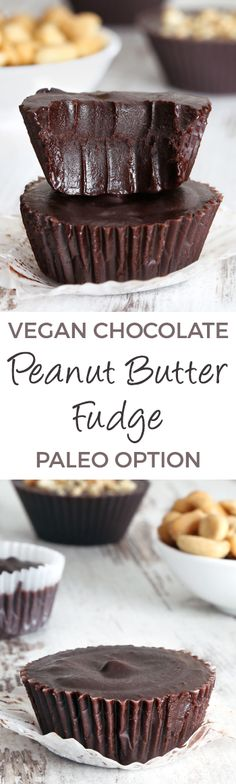 Healthy Peanut Butter Chocolate Fudge (naturally vegan, grain-free, gluten-free…