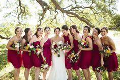 ruby red bridesmaid dresses | Sara & Rocky