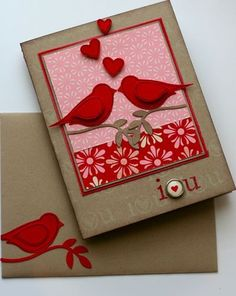 "handmade Valentine ... kraft base ... patterned paper layers ... two red die cut birds from the Two Step Bird punch ... sweet ""i heart u"" image .. beautiful!!!"