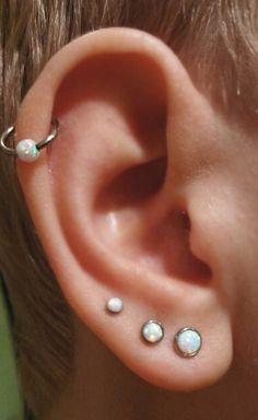 Cute & Cool Ear Piercing Ideas - Opal Silver Cartilage 16G Ring Earring Hoop at MyBodiArt.com - Triple Forward Helix Lobe Studs